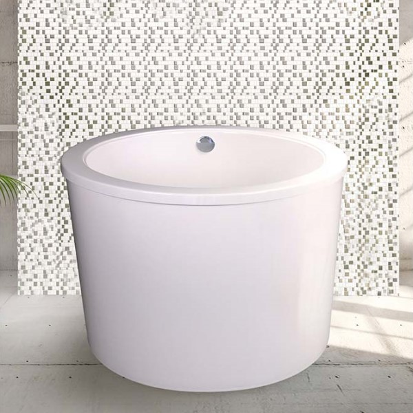 Round Freestanding Tub with Overlapping Rim, Slightly Angled Sides