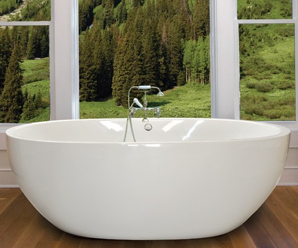 Oval Freestanding Tub with Curving Sides, Smooth Skirt