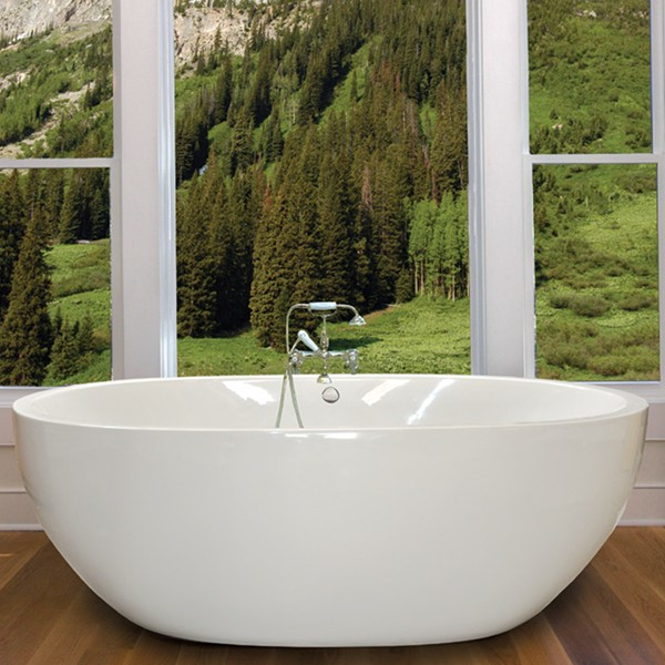 Oval White Acrylic Freestanding Soaking Tub With Stainless  Americh Roc Athens Bathtub Vanityart 59 X