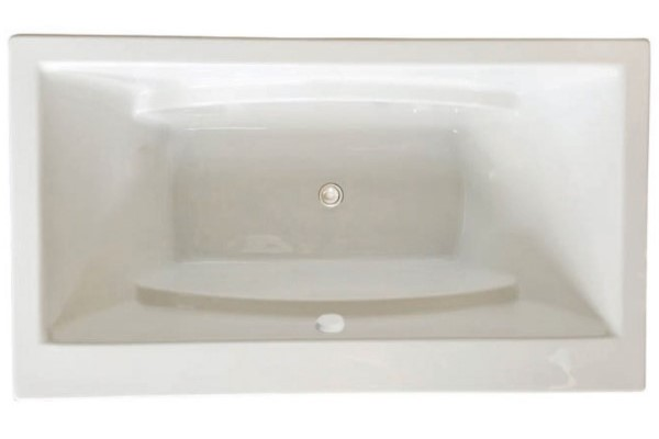 Rectangle Tub with Center - Side Drain, Curving Armrests for 2