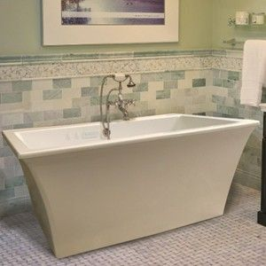 Rectangle Freestanding Tub with Wide Rim for Faucet