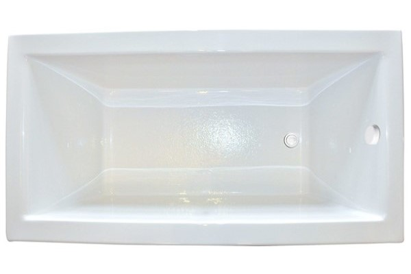 Modern Rectangle End Drain Tub with A Wide Rim, No Armrests