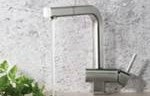 Square Design Faucet with Faucet Running