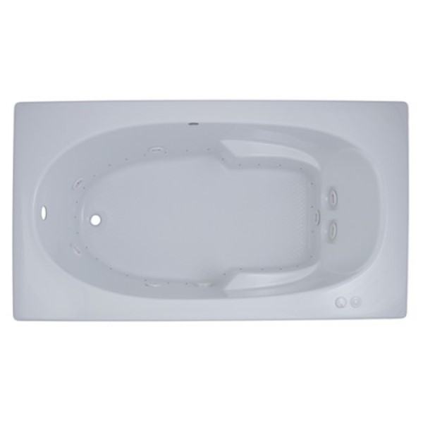 Rectangle Whirlpool & Air with Oval Bathing Well, Armrests, End Drain