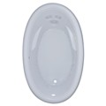 Bermuda Oval Bathtub with Wide Rolled Rim, Armrests, Center Drain