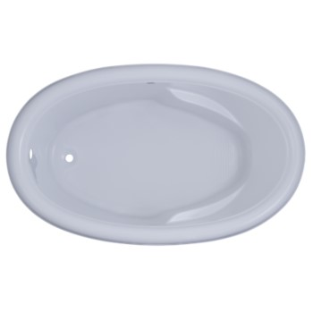 Capri Oval Bathtub with Rolled Rim, Armrests, End Drain
