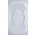 Rectangle Bathtub with Oval Bathing Well, 2 Sets of Armrests, Center Drain