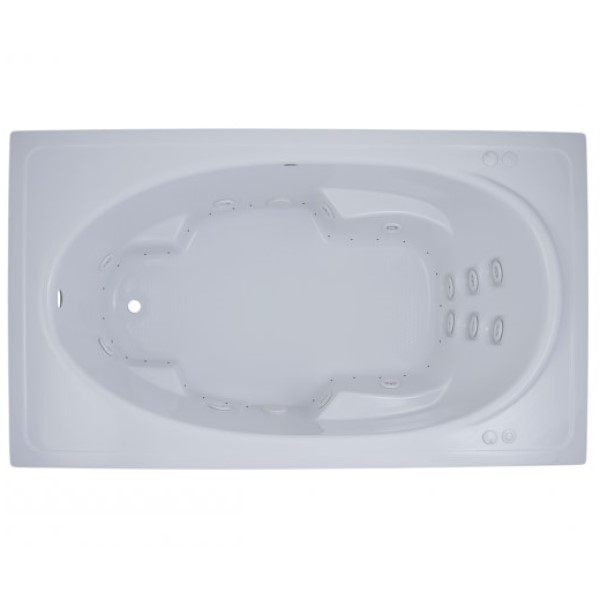 Rectangle Whirlpool & Air with Foot Rests, Armrests, End Drain