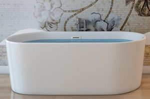 Oval Freestanding Bath with Straight Sides, Slotted Overflow