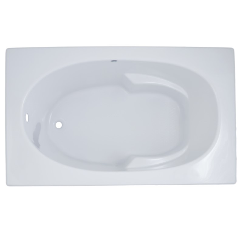 Cozumel Rectangle Bathtub with Oval Bathing Area, Armrests