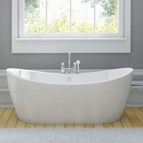 Freestanding Tub with 2 Raised Backrests