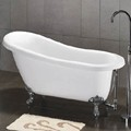 Claw Foot Slipper Bath in White with Chrome Feet