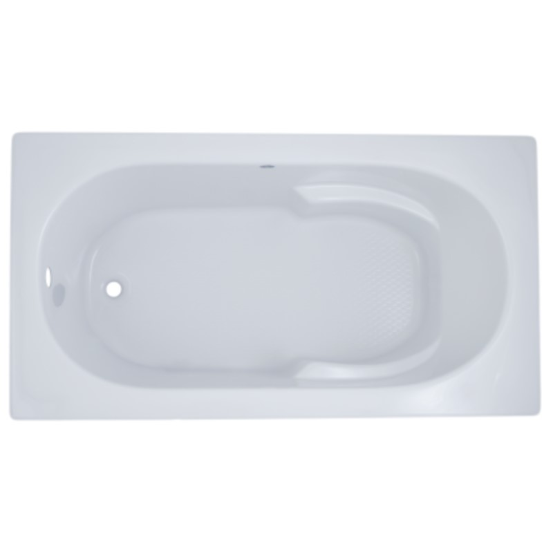 Fiji Rectangle Bathtub with Oval Bathing Well, Armrests, End Drain