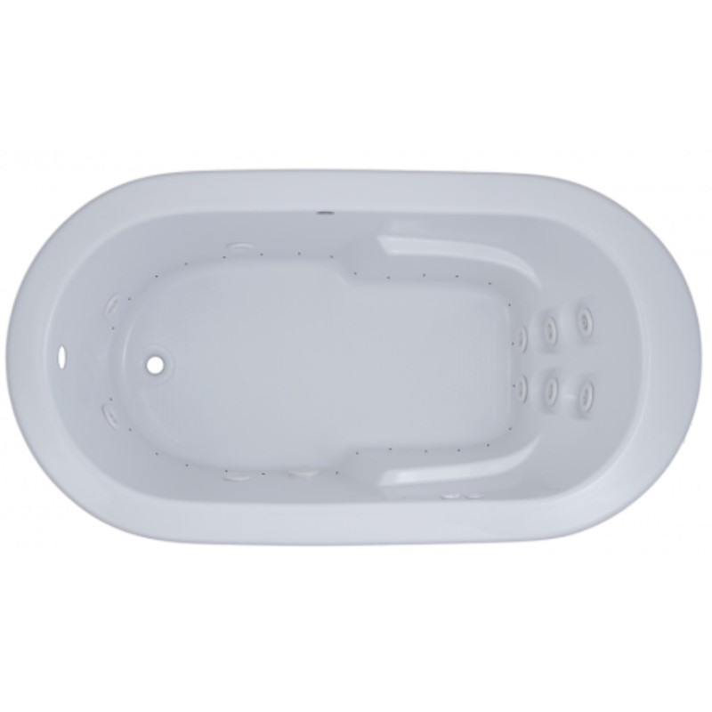 Oval Whirlpool & Air with Armrests, End Drain, Flat Rim