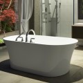 Oval Freestanding Tub with Center Drain, Faucet Deck
