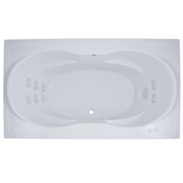 Rectangle Whirlpool & Air with Oval Bathing, Armrests, Center Drain