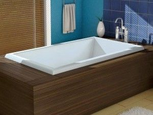 Porter Rectangle Bathtub with Wide Rim, End Drain