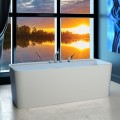 Rectangle Freestanding Tub with Faucet Deck