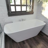 Freestanding Bath with Shelf at Back and Right for Corner Applications