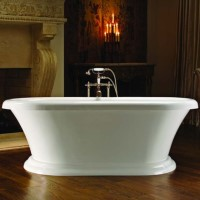 Oval Bath with Rolled Rim and Pedestal Base
