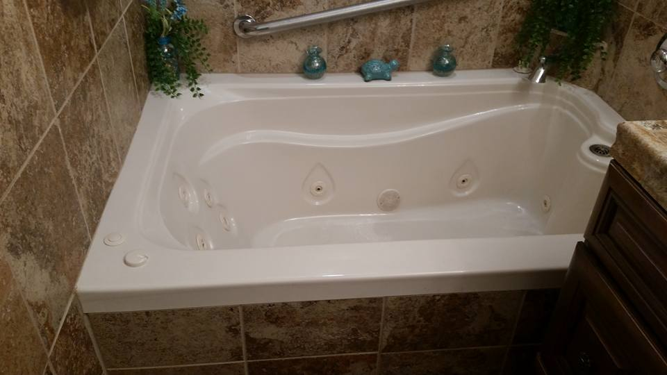 whirlpool tub. Elite Whirlpool installed as a drop in WaterTech Bathtub  Features Options