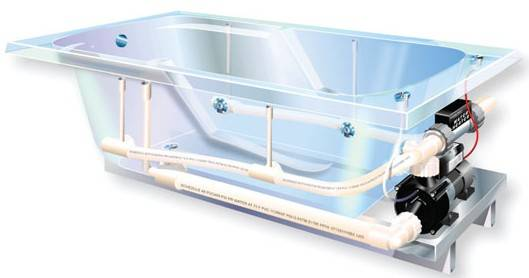 WaterTech Whirlpool Jet Bathtub. Drawing Of Whirlpool Tub System