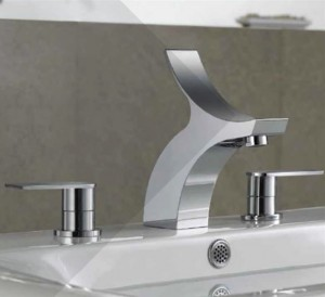 Widespread sink faucet with a winged spout