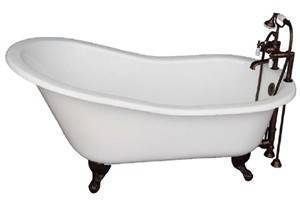 Slipper Clawfoot Bath with Tub Filler, Hand Shower, Supplies and Drain
