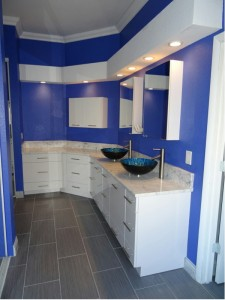 New Vanity with Blue Glass Vessel Sinks