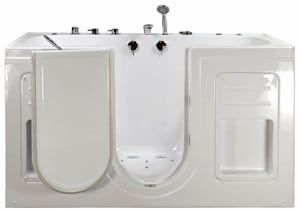 The Big4Two is an acrylic outward swing walk in bathtub with dual massage