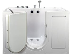 The Tub4Two is an acrylic outward swing walk in bathtub with whirlpool jets