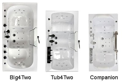 Three sizes of walk-in tubs designed for 2 bathers