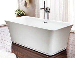 Rectangle Freestanding Bathtub with Rounded Corners and Curving Sides