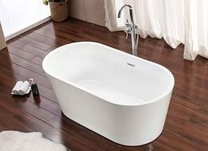Modern Oval Bathtub with Thin Rim - Center Drain Freestanding