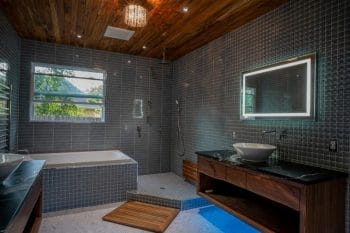 Modern Bathroom with Wet Area Shower, Wall Vanities