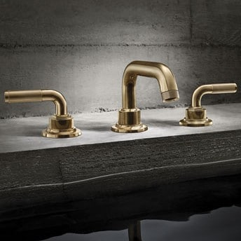 Burnished Brass Faucet With Knurl Lever Handles