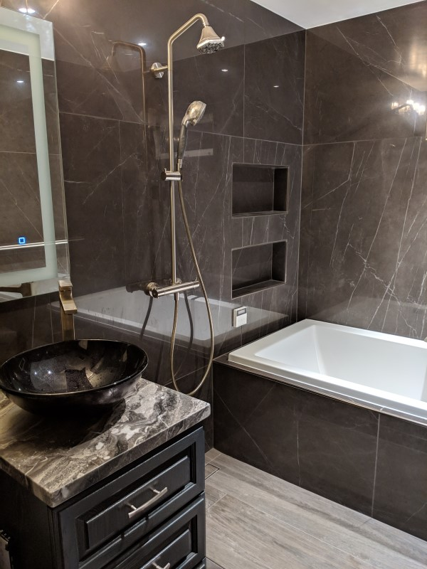 Rectangle Drop-in Tub Installed in a Wet Room