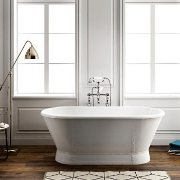 Freestanding Redestal Bath with Bands & Rivets