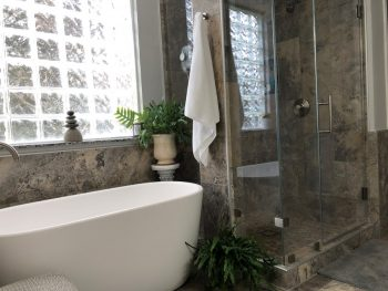 Freestanding Tub in Nook Bewtween Shower and Wall