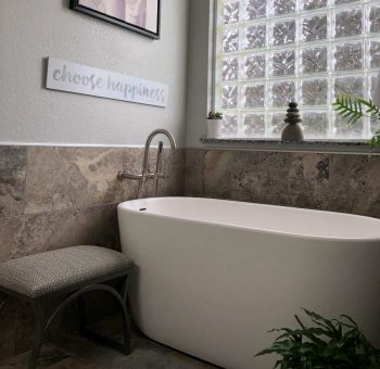 Oval Bath with End Drain, Wall Mounted Tub Filler