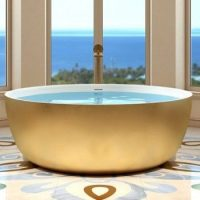 Round Tub with Flat Rim, White Gold Exterior, White Rim and Interior