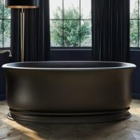 Classic Styled Freestanding Tub, Detailed Base and Rolled Rim, Black