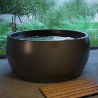 Round Freestanding Bath, Curving Sides, Rounded Rim, Shown in Black
