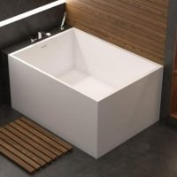 Small, modern rectangle bath with straight sides