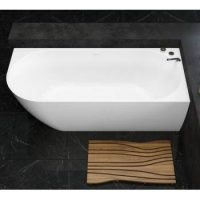 Freestanding Tub with Curving Skirt on 2 Sides, Left Curve Corner Shown