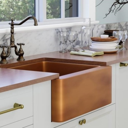 Copper Farmhouse Sink with Smooth Front Apron