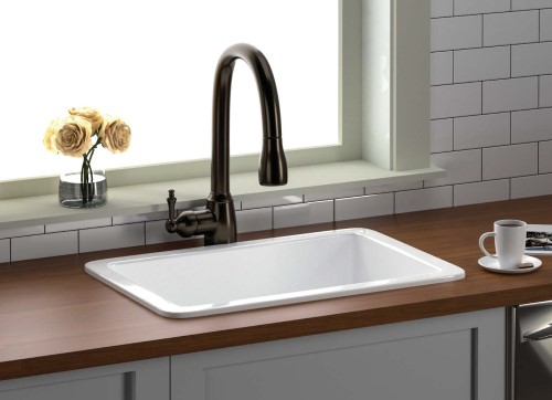 White Fireclay Drop-in Sink